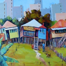 "Barry Kidd - ""Brisbane Backyards"" | 51cm x 76cm | Price: $650"
